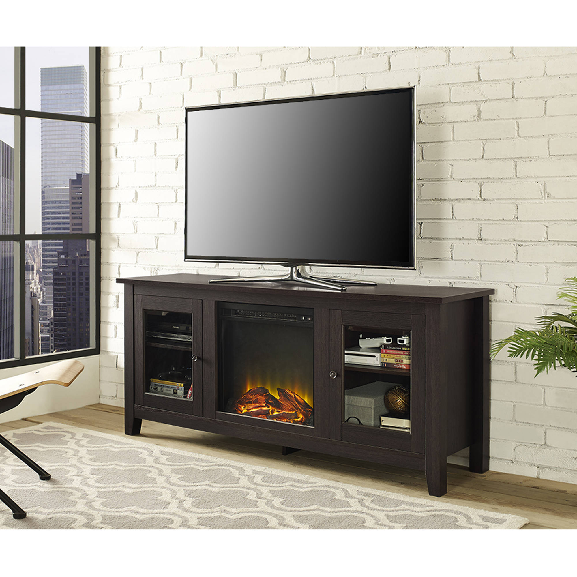 "Wood TV Stand with Fireplace, for TVs up to 60"", Multiple Finishes"