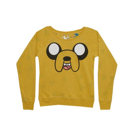 Junior Faces - Adventure Time Jake Face Grass Time Reversible Juniors Long Sleeve T-Shirt Tee