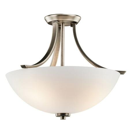 - Semi Flush 3 Light With Brushed Pewter Finish Medium Base Bulb 17 inch 225 Watts