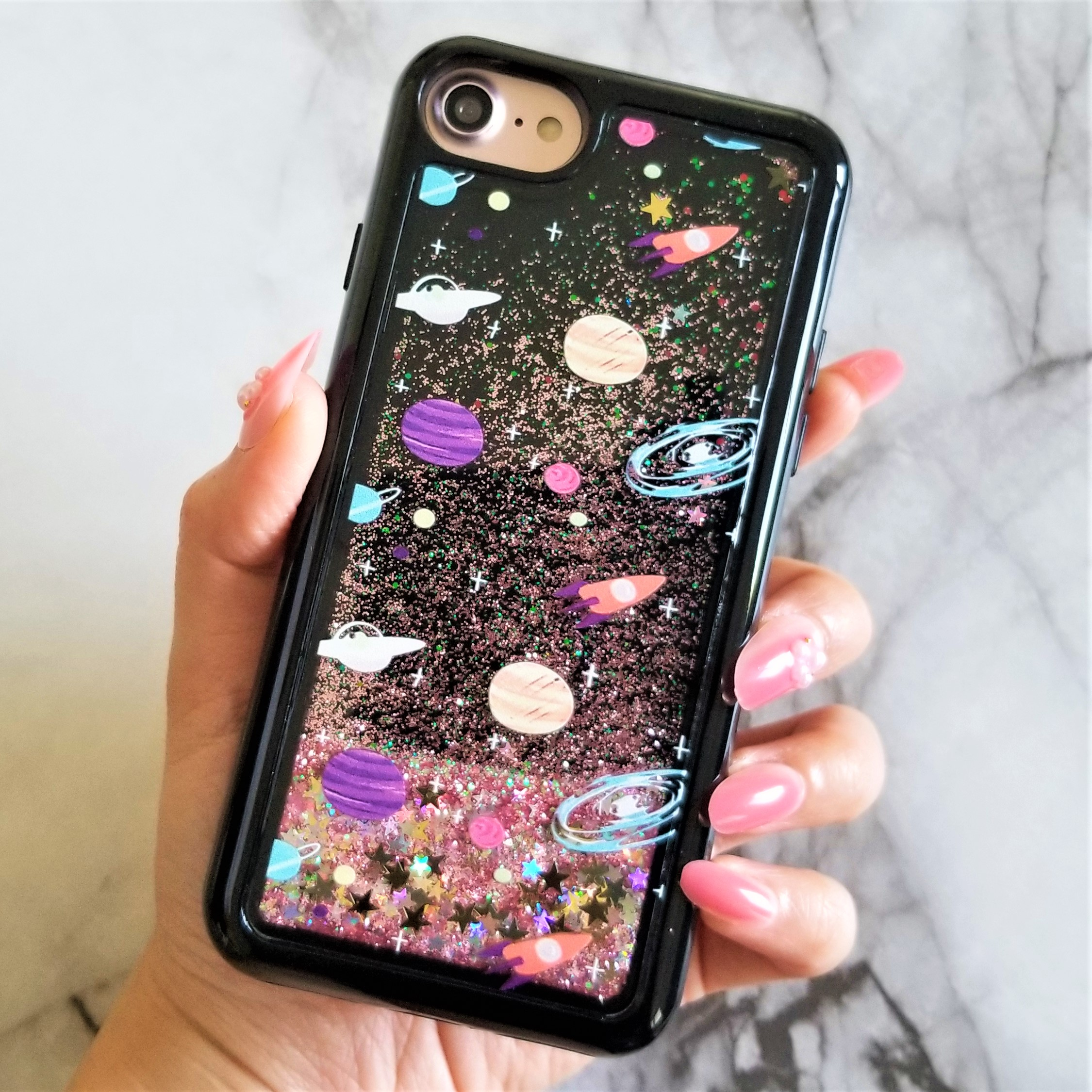 """iPhone 8 4.7"""" Outer Space Liquid Glitter Waterfall Moving Stars Case Cover"""