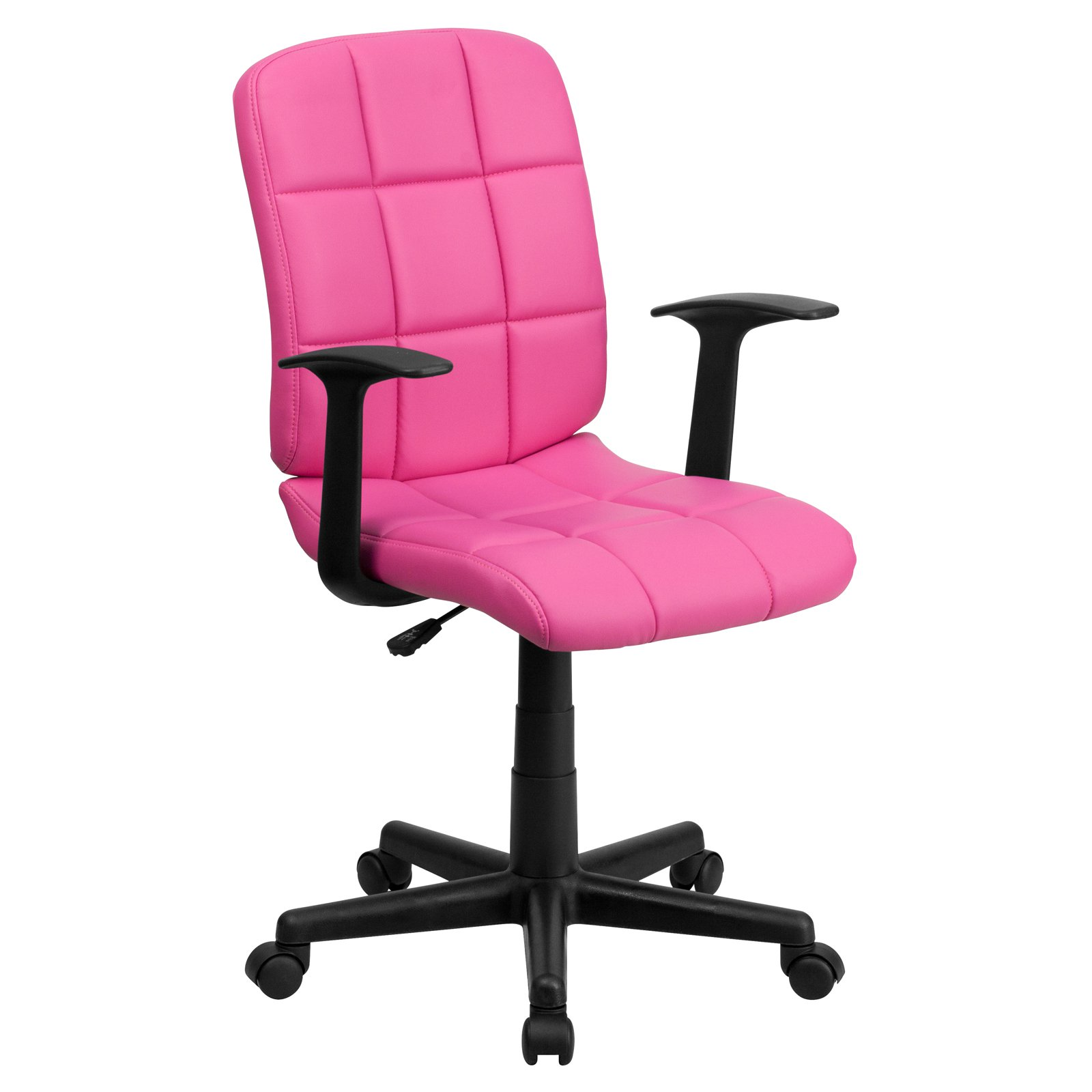 Flash Furniture Mid-Back Quilted Vinyl Swivel Task Office Chair with Nylon Arms, Multiple Colors
