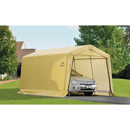 Shelterlogic AutoShelter 10' x 15' x 8' Peak Style Instant Garage- Sandstone by ShelterLogic