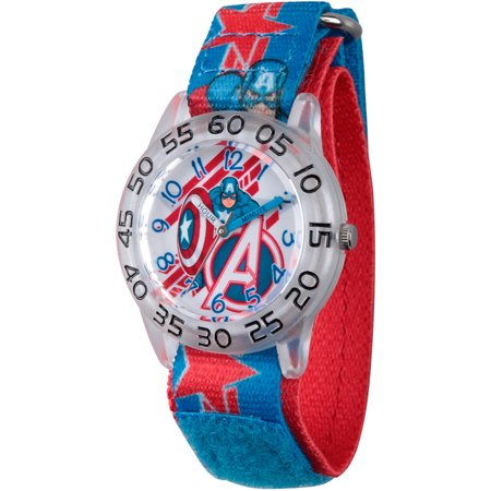 Avengers Assemble Captain America Boys Clear Plastic Time Teacher Watch, Blue and Red Captain America Stretchy Nylon Strap (Kids Avengers Watch)