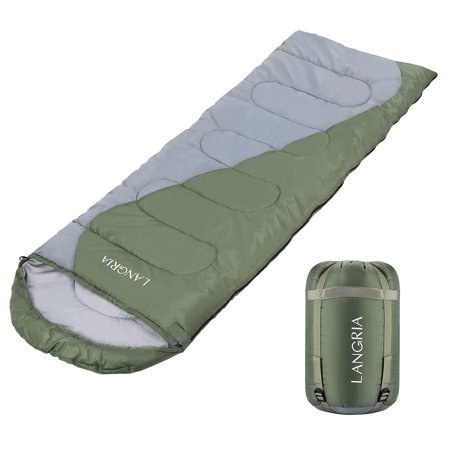 - LANGRIA Envelope Sleeping Bag, 3 Season Compact Sleeping Bags for Adults, Indoor/Outdoor Lightweight Sleeping Bag for Sleepover Camping Backpacking Hiking Festival with Compression Sack