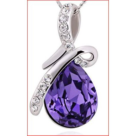Drop Swarovski Elements (Eternal Love Swarovski Amethyst Crystal Elements Teardrop Pendant Necklace Fashion Jewelry for Women Upgraded Chain)