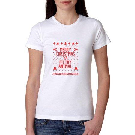 Merry Christmas Ya Filthy Animal Shirt.Hilarious Merry Christmas Ya Filthy Animal Women S Cotton T Shirt