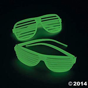 Fun Express One Dozen Plastic Glow-in-The-Dark Shutter Shading Glasses - Glo Glasses