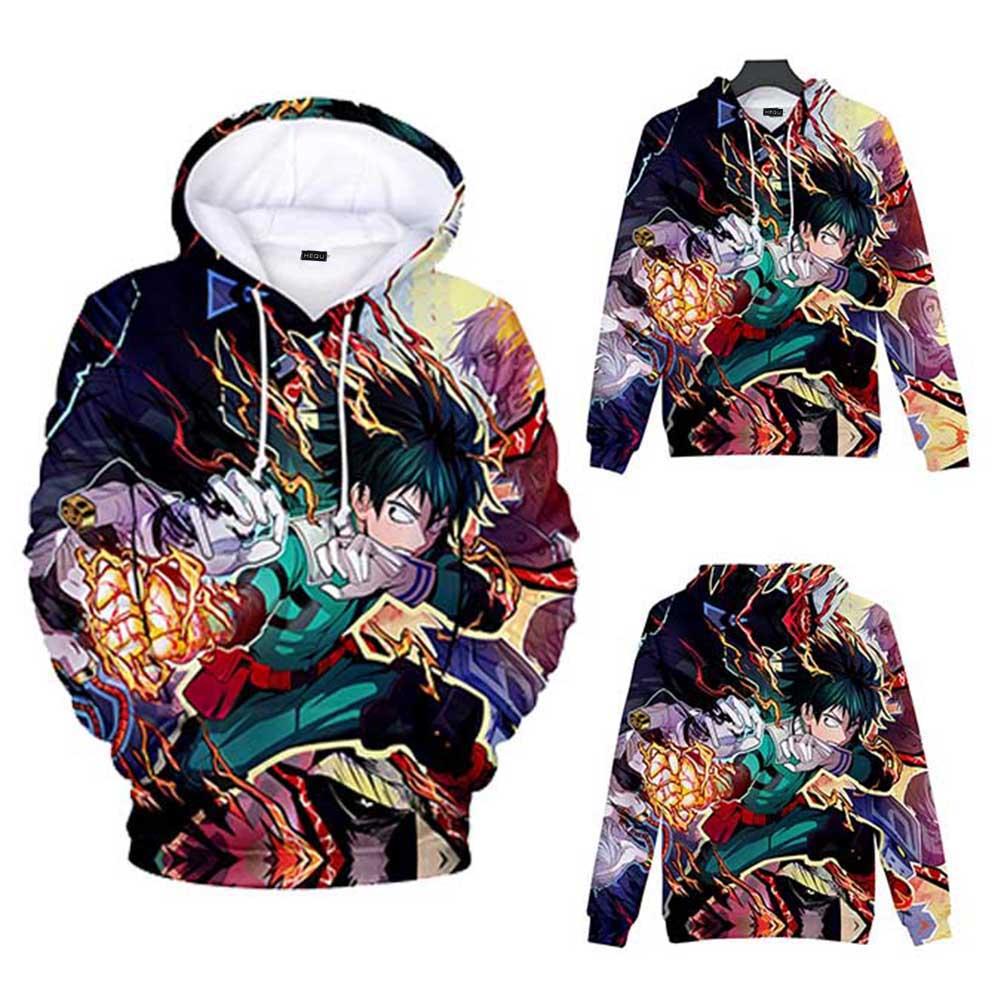 Hatstng Teen Boys Girls 3D Printed Novelty Hoodies My Hero Academia Sweatshirts Pullover