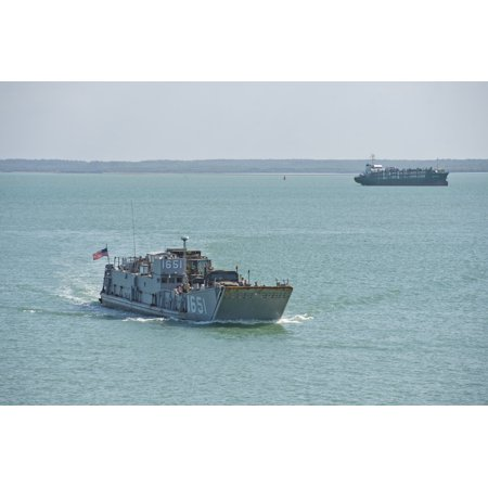 LAMINATED POSTER Landing Craft Utility (LCU) 1651 approaches the amphibious transport dock ship USS Denver (LPD 9) to Poster Print 24 x 36