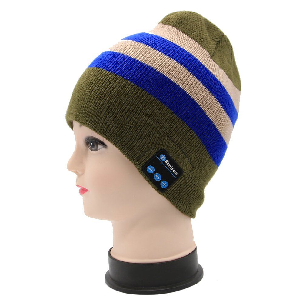 Solid Color Wireless Bluetooth Smart Music Hat Elastic Men Women Cotton Knitted Sport Jogging Winter Keep Warm Headphone Cap
