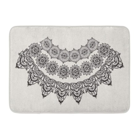 GODPOK Boho White Crochet Neck Necklace Crocheted Lace Border with Openwork Pattern Black Flower Related Rug Doormat Bath Mat 23.6x15.7