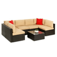 Best Choice Products 7-Piece Modular Outdoor Patio Furniture Set, Wicker Sectional Sofas w/ Cover, Seat Clips – Brown