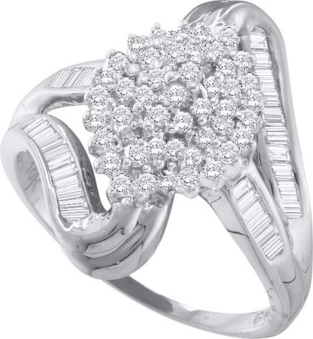 10K White Gold 0.5ctw Shiny Pave Diamond Baguette Fashion Cluster Marquise Ring