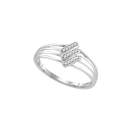 10kt White Gold Womens Round Diamond Stripe Band Ring 1/20 Cttw - image 1 de 1