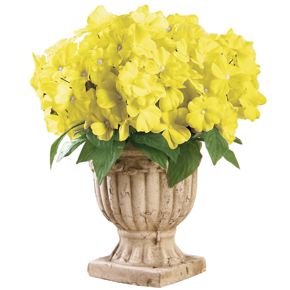 Impatiens Artificial Maintenance-Free Flower Bush - Set of 3, Yellow