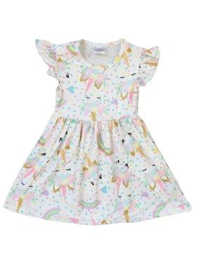 Little Girl Dress Kids Unicorn Rainbow Easter Summer Flower Girl Dress Off White 2T XS (201249)