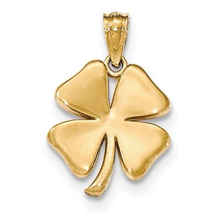14k Yellow Gold Polished 4 Leaf Clover Pendant