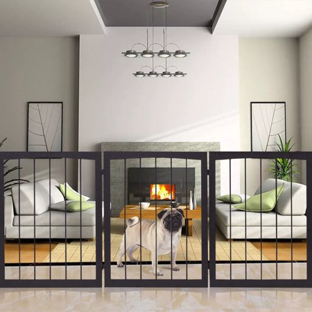 - Gymax Folding Solid Wooden Pet Dog Fence Playpen Gate 3 Panel Free Standing Indoor