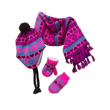 NICE CAPS Little Girls and Infants Sherpa Lined Snowflake Design Knitted Hat Mitten Scarf Cold Weather Winter Accessory Set - Fits Baby Toddler Kids Childrens Sizes - Childrens Online Clothes