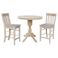"""36"""" Round Counter Height Table with 12"""" Leaf and 2 Caf Stools - Unfinished - 3 Piece Set"""