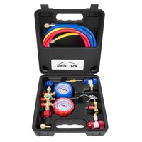 2020 UPGRATE Version 3 Way AC Manifold Gauge Set, Fits R134A R12 R22 and R502 Refrigerants, with 5FT Hose, Acme Tank Adapters, Couplers and Can Tap