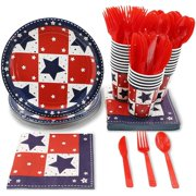 Serves 24 America Star Patriotic Party Supplies, 144PCS Plates Napkins Cups, Fourth of July Favors Decorations Disposable Paper Tableware Dinnerware Kit Set Bulk for Patriotic Party