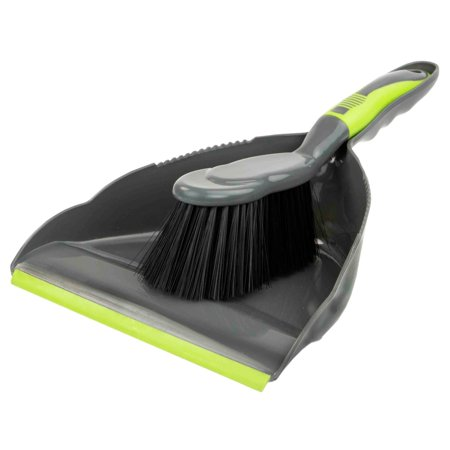 Brilliant Grey and Lime Dust Pan Set ()