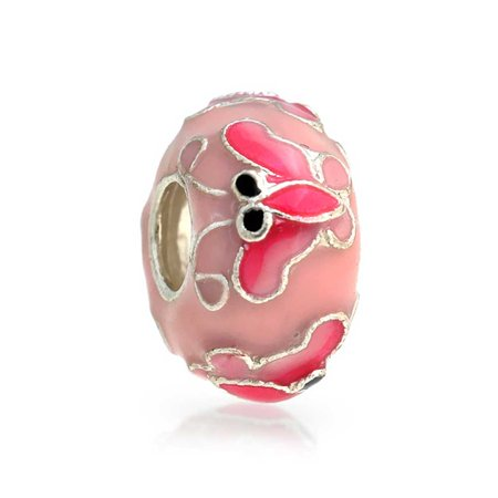 Garden Insect Enamel Pink Butterfly Charm Bead For Women For Teen 925 Sterling Silver Fits European Bracelet