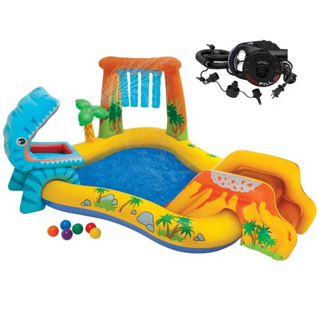 Intex Dinosaur Play Center Inflatable Kids Set & Swimming Pool w/ Electric Pump - Kids Blow Up Pool