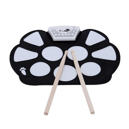 KKmoon W758 Silicone Portable Electronic Roll up Drum Pad Kit Silicon Foldable with Stick ()