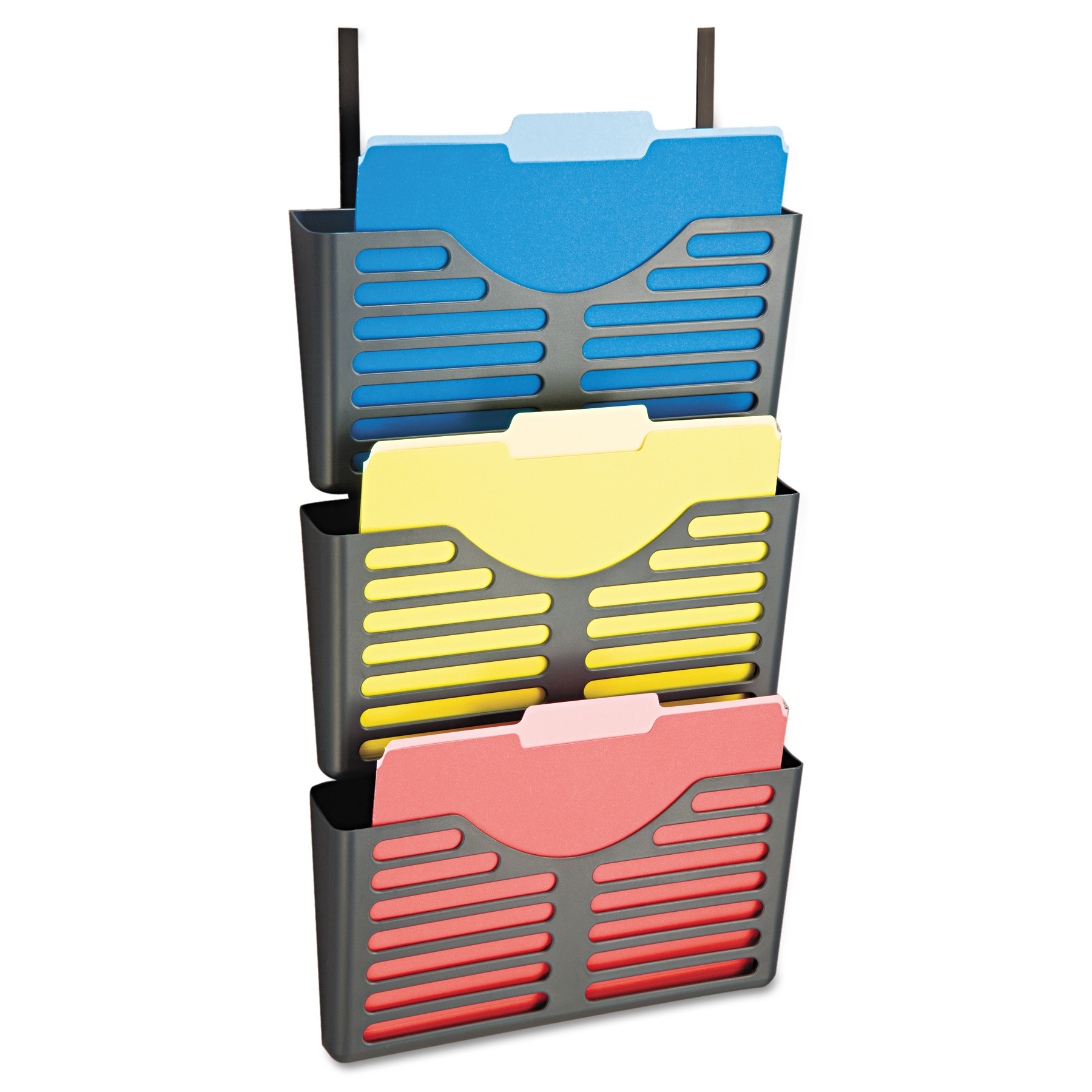 Officemate Filing System w/Hanger Set, 3 Pockets, Letter, 28 x 13 1/2 x 4 3/4, Charcoal -OIC29314