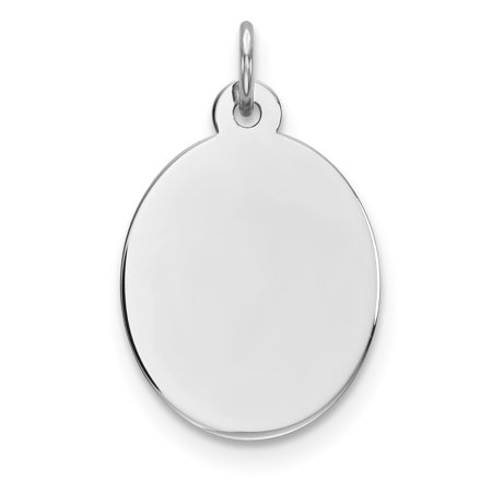 925 Sterling Silver Rhod Plate Eng. Oval Polish Front Back Disc Pendant Charm Necklace Engravable Elliptical Gifts For Women For Her - Engravable Silver Plated