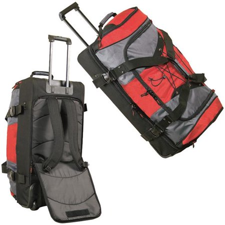 Rb4405 30 In Extra Large Duffle Bag Backpack On Wheels Grey Red Black