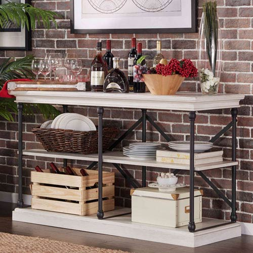 Lubeck Vintage White TV Stand Console by