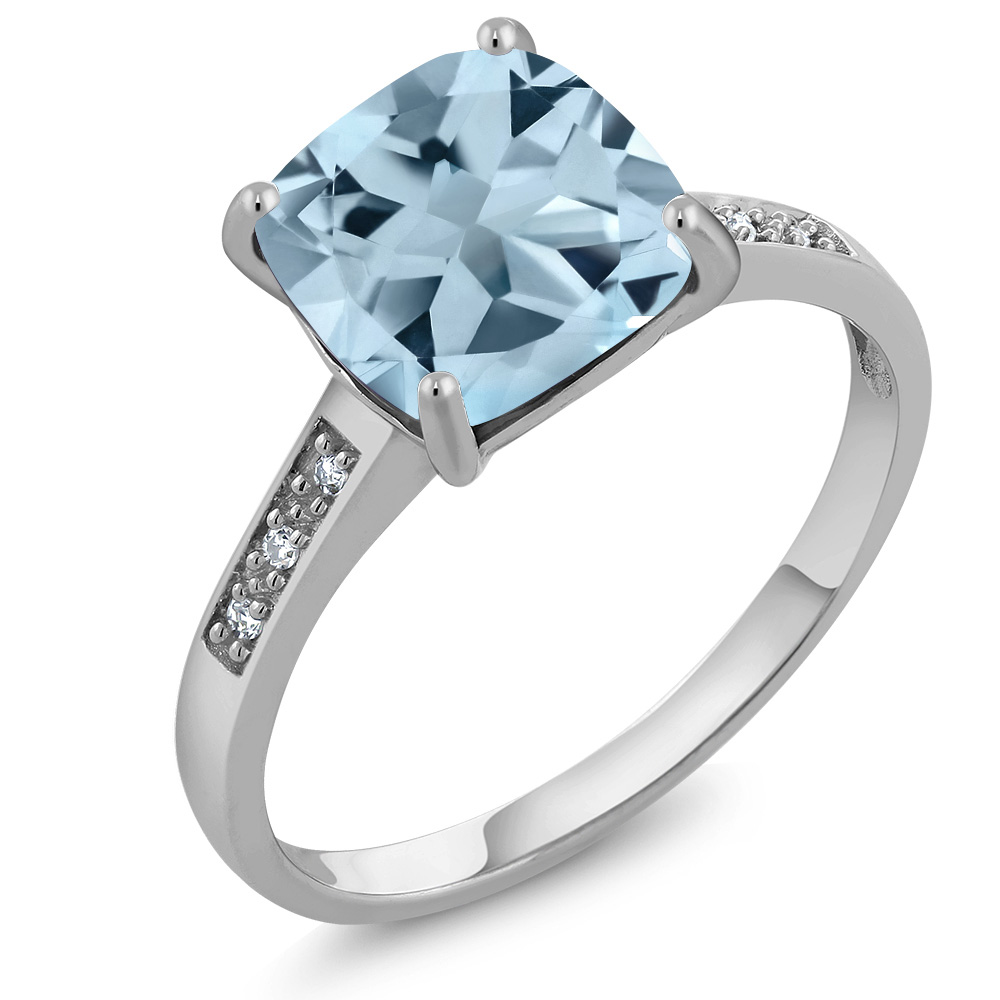 Women's 10K White Gold Cushion 8mm Sky Blue Topaz and Diamond Ring by