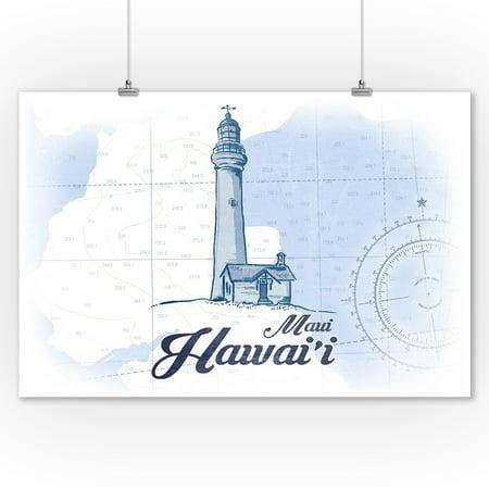 Maui, Hawaii - Lighthouse - Blue - Coastal Icon - Lantern Press Artwork (9x12 Art Print, Wall Decor Travel (Maui Lighthouse)