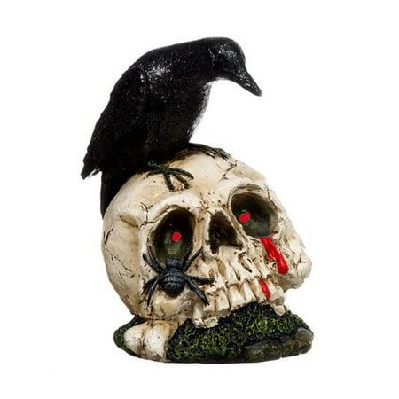 Light Up Skull with Raven by Ganz - Light Up Skull