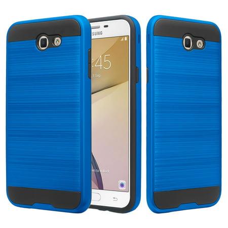 Samsung Galaxy J7 (2017), J7 Sky Pro, J7 Perx, J7 V, Ultra Slim [Shockpropf] Hard Shell Dual Layer Metallic Brush  Case Cover - Blue