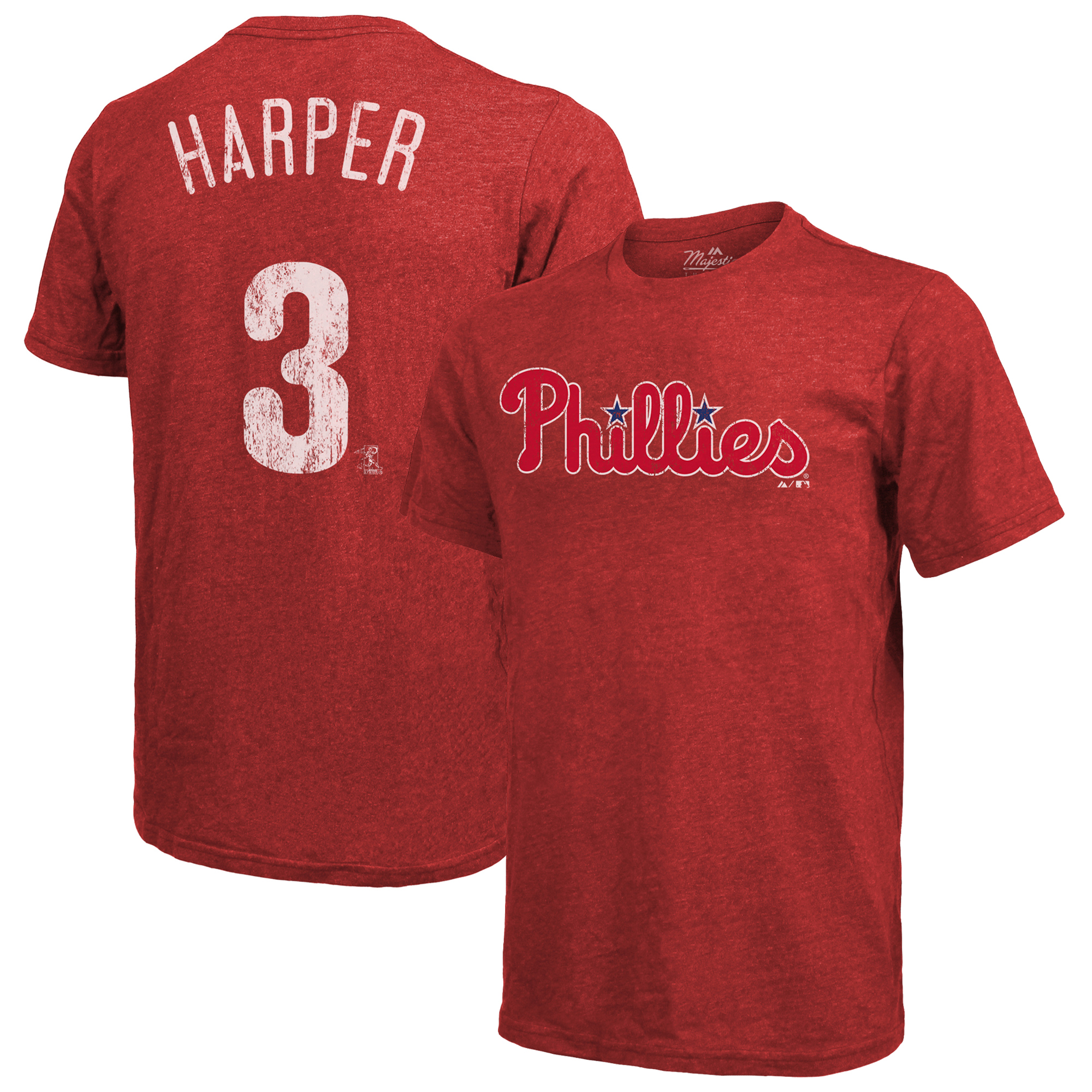 Bryce Harper Philadelphia Phillies Majestic Threads Name & Number Tri-Blend T-Shirt - Red