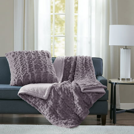 """50""""x60"""" Ruched Faux Fur Throw Blanket Lavender"""