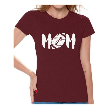 See White Graphic (Awkward Styles Women's M-O-M Football Mom Graphic T-shirt Tops White Mother's Day Gift Sports Mom )
