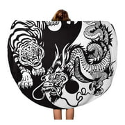 LADDKA 60 inch Round Beach Towel Blanket Dragon and Tiger Yin Yang Symbol of Harmony Balance Travel Circle Circular Towels Mat Tapestry Beach Throw