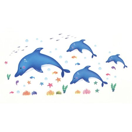 Unique Bargains Livingroom Decor Fish Dolphin Coral Print Removable Decal Mural Wall Sticker