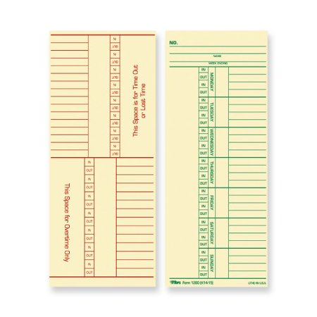 TOPS Named Days/Overtime Time Card 12603