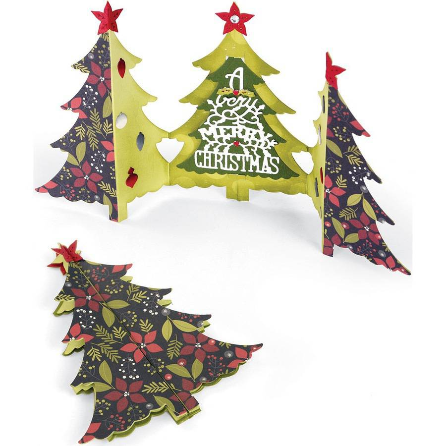 Sizzix Thinlits Dies 6pk, Fold-A-Long Christmas Tree Card