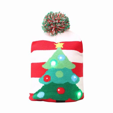 Merry Christmas LED Knit Beanie Hat Winter Warm Protective Cap Xmas Hat for Kids - Christmas Hats For Adults