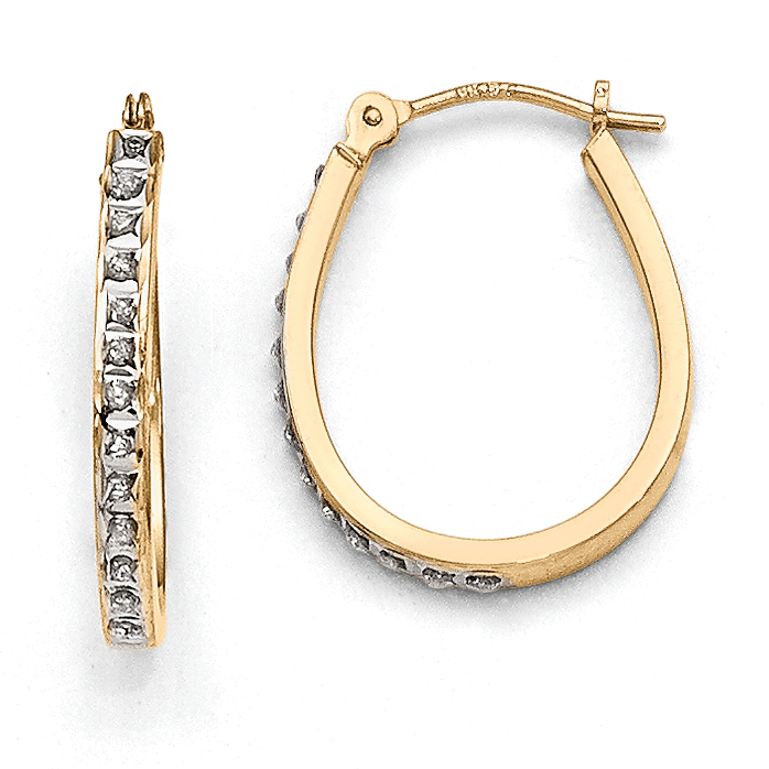 14k Yellow & Rhodium Diamond Fascination Oval Hinged Hoop Earrings