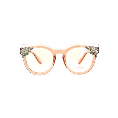 Orange County Shields (Womens Rhinestone Jewel Trim Panel Shield Lens Horned Sunglasses Light Orange)