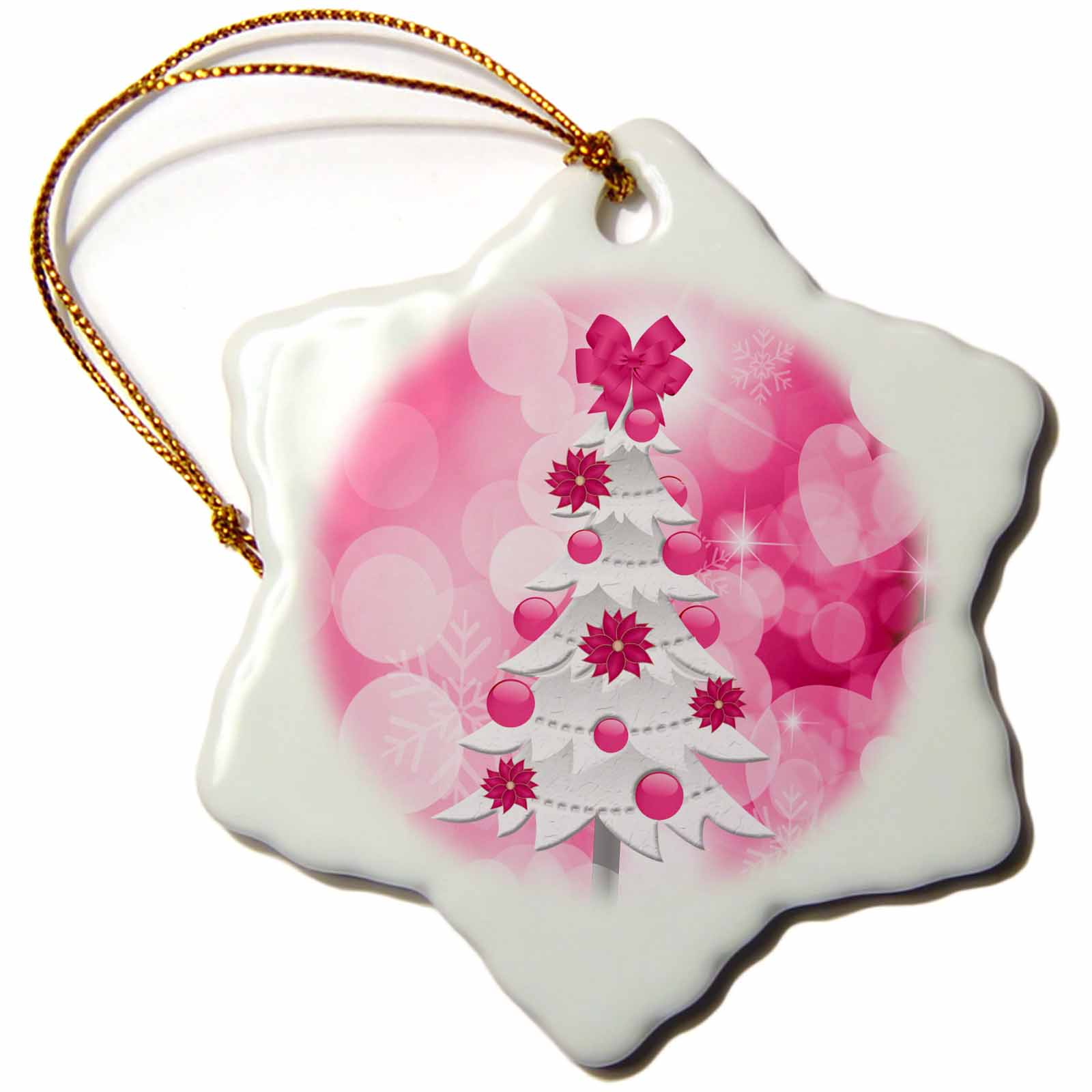 3dRose Pink and White Christmas Tree with Poinsettia Ornaments and Snowflake Bokeh Background , Snowflake Ornament, Porcelain, 3-inch
