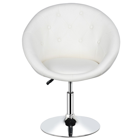 Topeakmart Adjustable Round Back Swivel Chair Barstool Tufted Chair White